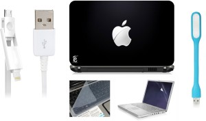 Print Shapes Cut Apple Laptop Skin with Screen Guard ,Key Guard,Usb led and Charging Data Cable Combo Set