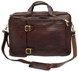 LEATHER COLLECTION 17 inch Expandable Laptop Messenger Bag