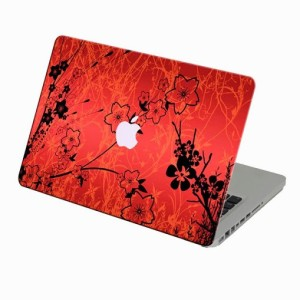 Theskinmantra Red N Black N Floral Macbook Air 11 Inches 3m Bubble Free Vinyl Laptop Decal 11