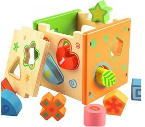 BATTOP ToysGames US CPSC Certified Wooden Shape Sorter Preschool Educational Toy Color