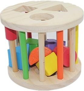 Aladdin Shape Sorter Wheel Wooden Toys For 1 Year Oldmulticolor