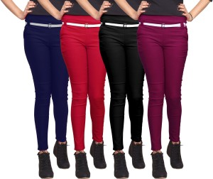f9a3c85be89 Lee Fabco Women s Dark Blue Red Black Maroon Jeggings Pack of 4 Best ...