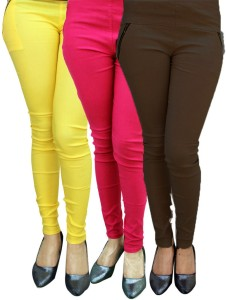 Magrace Women's Yellow, Pink, Brown Jeggings