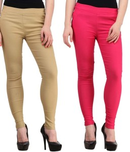 Magrace Women's Beige, Pink Jeggings