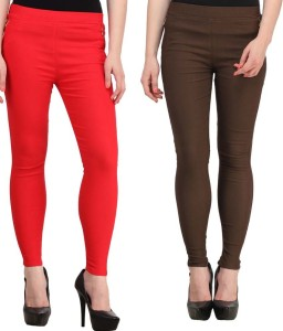 Magrace Women's Red, Brown Jeggings
