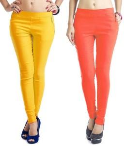 Magrace Women's Yellow, Orange Jeggings