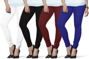 fe4ece6eadb73e Lux Lyra Women s White Black Maroon Dark Blue Leggings Pack of 4 ...