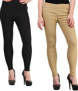 Magrace Women's Beige, Black Jeggings