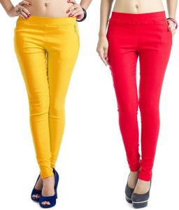 Magrace Women's Yellow, Pink Jeggings