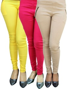 Magrace Women's Beige, Yellow, Pink Jeggings