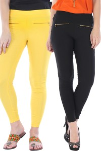 Bitterlime Women's Black, Yellow Jeggings