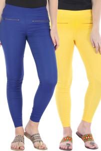 Bitterlime Women's Yellow, Blue Jeggings