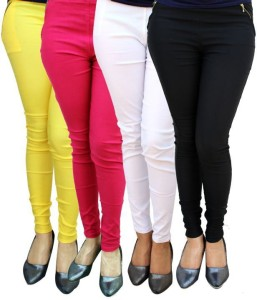 Magrace Women's Yellow, Black, White, Pink Jeggings