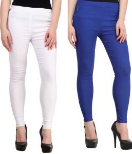 Magrace Women's White, Blue Jeggings