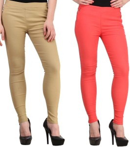Magrace Women's Beige, Orange Jeggings