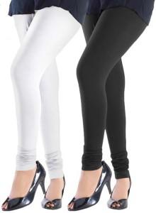 25e9d5635a Trusha Dresses Women s White Black Leggings ( Pack of 2 )
