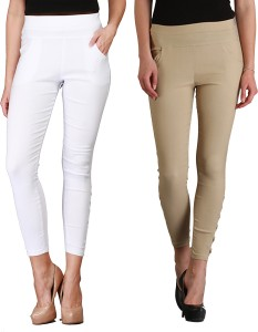 Skyline Women's White, Beige Jeggings