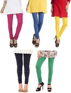 f9f773a708fb63 Rupa Softline Women s Pink Blue Blue Green Yellow Leggings Pack of 5 ...