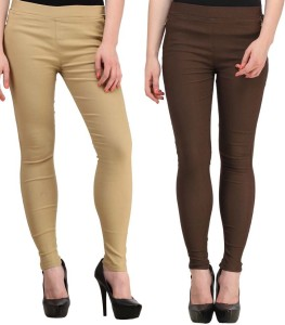 Magrace Women's Beige, Brown Jeggings