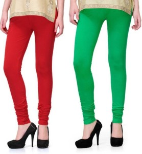 Korel Women's Red, Light Green Leggings