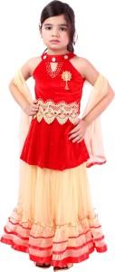 Tiny Toon Girls Lehenga Choli Ethnic Wear Embroidered Lehenga, Choli and Dupatta Set
