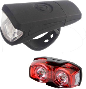 Dark Horse Imported Bicycle Front Light 3 Watt USB Silicon Rechargeable & 1 Watt 3 Mode Twin Eye Battery Rear Light Combo LED Front Rear Light Combo