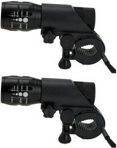 Shrih Zoom LED Torch with Bicycle Mount Holder LED Front Rear Light Combo