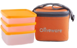 Oliveware LB#48orange 3 Containers Lunch Box