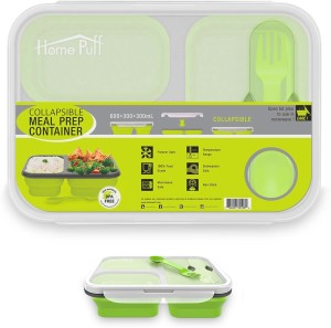 Home Puff Collapsible Lunch Box, Bento BPA Free-Silicone, Microwave/ Dishwasher Safe (1200 ml) 3 Containers Lunch Box