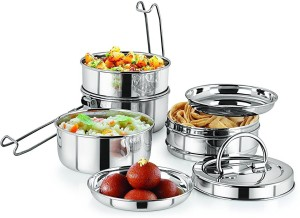 Neelam Stainless Steel Tiffin Plate 9x4 4 Containers Lunch Box 2400