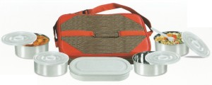 De Ultimate Carrier Executive 5 In 1 Thali Set With 1 Spoon, Plastic Box 4 Containers Lunch Box