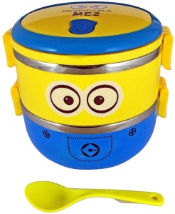 Royle Katoch BPA Free 2 LAYER DOUBLE DECKER Despicable Me 2 MINION STEEL LUNCH BOX with Spoon - Easy Lock - BIG- HIGH EUROPEAN QUALITY 2 Containers Lunch Box