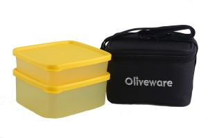 Oliveware LB#49black 2 Containers Lunch Box