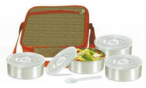 De Ultimate Carrier Executive Square Meal With 1 Spoon And 4 Containers Lunch Box
