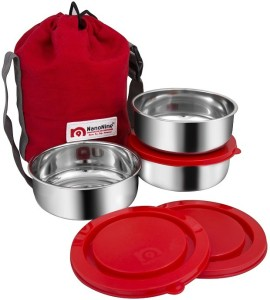 Nano Nine Brunch Stainless Steel Lunch Containers, set of 3, (250 ml x 3), Silver-Red, 3 Containers Lunch Box