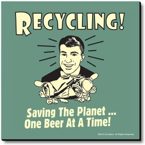 bCreative Recycling Saving The Planet One Beer At A Time Fridge Magnet, Door Magnet