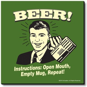 bCreative Beer! Instructions: Open Mouth, Empty Repeat! Fridge Magnet, Door Magnet