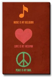 Seven Rays Music Love Peace Fridge Magnet