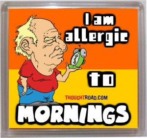 Thoughtroad Allergic To Mornings Fridge Magnet