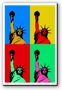 Seven Rays Statue of Libery Pop Art Fridge Magnet