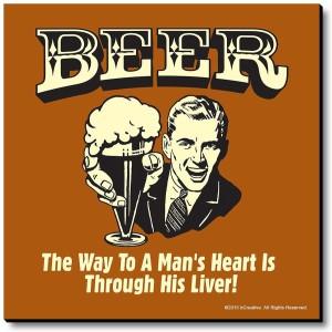 bCreative Beer The Way To Man's Heart Is Through His Liver! Fridge Magnet, Door Magnet