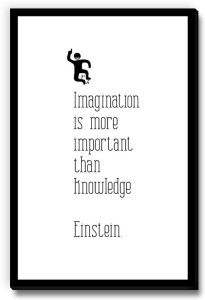 Seven Rays Imagination is more important than knowledge bw Fridge Magnet