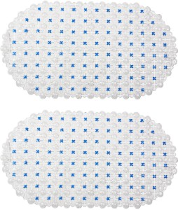 Winner PVC Bath Mat Indoor Non Slip White & Blue Bath Mat - 30005202