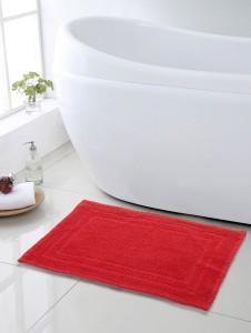 SWHF Cotton Bath Mat SWHF Premium Cotton Zigzag Bath Mat: Red