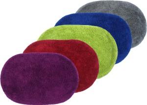 Azaani Cotton Floor Mat Azaani New Oval Colorful Bathmat Set of 5pcs