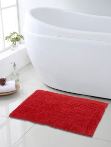 SWHF Cotton Bath Mat SWHF Premium Cotton Waffle Bath Mat: Red