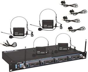 PylePro PDWM4400 - 4 Mic VHF Wireless Lavalie/ Headset System Microphone