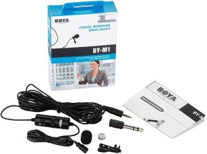 Boya Omnidirectional Lavalier Condenser Microphone with 20ft Audio Cable- for DSLRs Camcorders Video Cameras and iPhone Samsung HTC Smart Phone Microphone