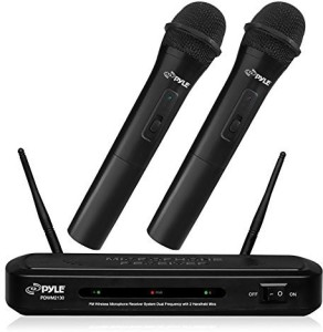 Pyle PDWM2130 Wireless FM Microphone Receiver System with Dual Frequency and Two Handheld Microphones Microphone