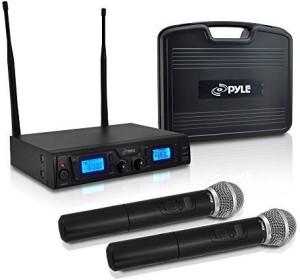 Pyle PDWM3360 Wireless Microphone System with (2) Handheld Mics, UHF, Selectable Frequency, LCD Display, Rack Mountable Microphone